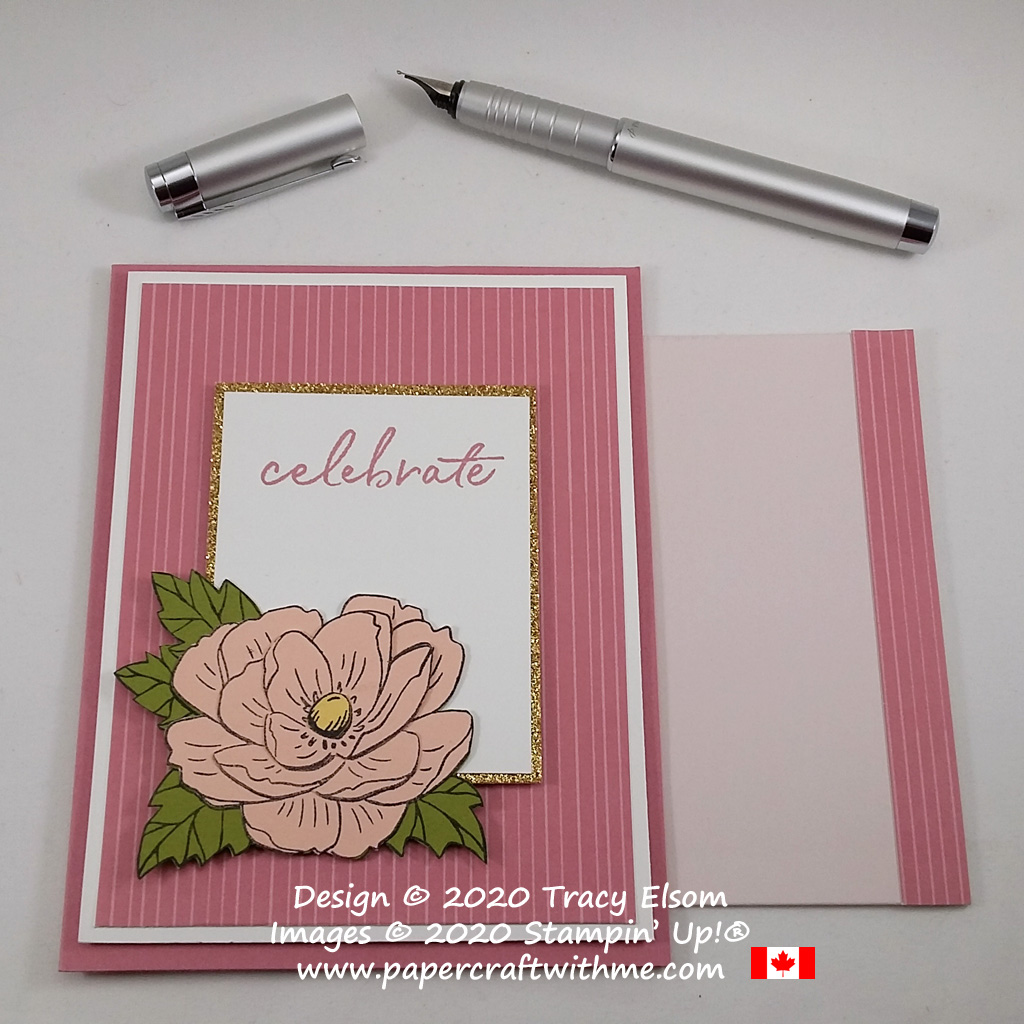 "Celebrate card with layered peony image from the February 2020 Paper Pumpkin kit ""Lovely Day"". #papercraftwithme"
