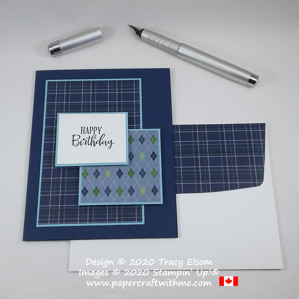 Masculine birthday card with layers of plaid and argyle patterned paper created using the Peaceful Moments Stamp Set and Country Club DSP from Stampin' Up! #simplestamping #papercraftwithme