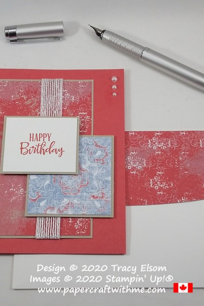 Stepped up #simplestamping birthday card with layers of patterned paper, created using the Peaceful Moments Stamp Set and Woven Threads DSP from Stampin' Up! #papercraftwithme