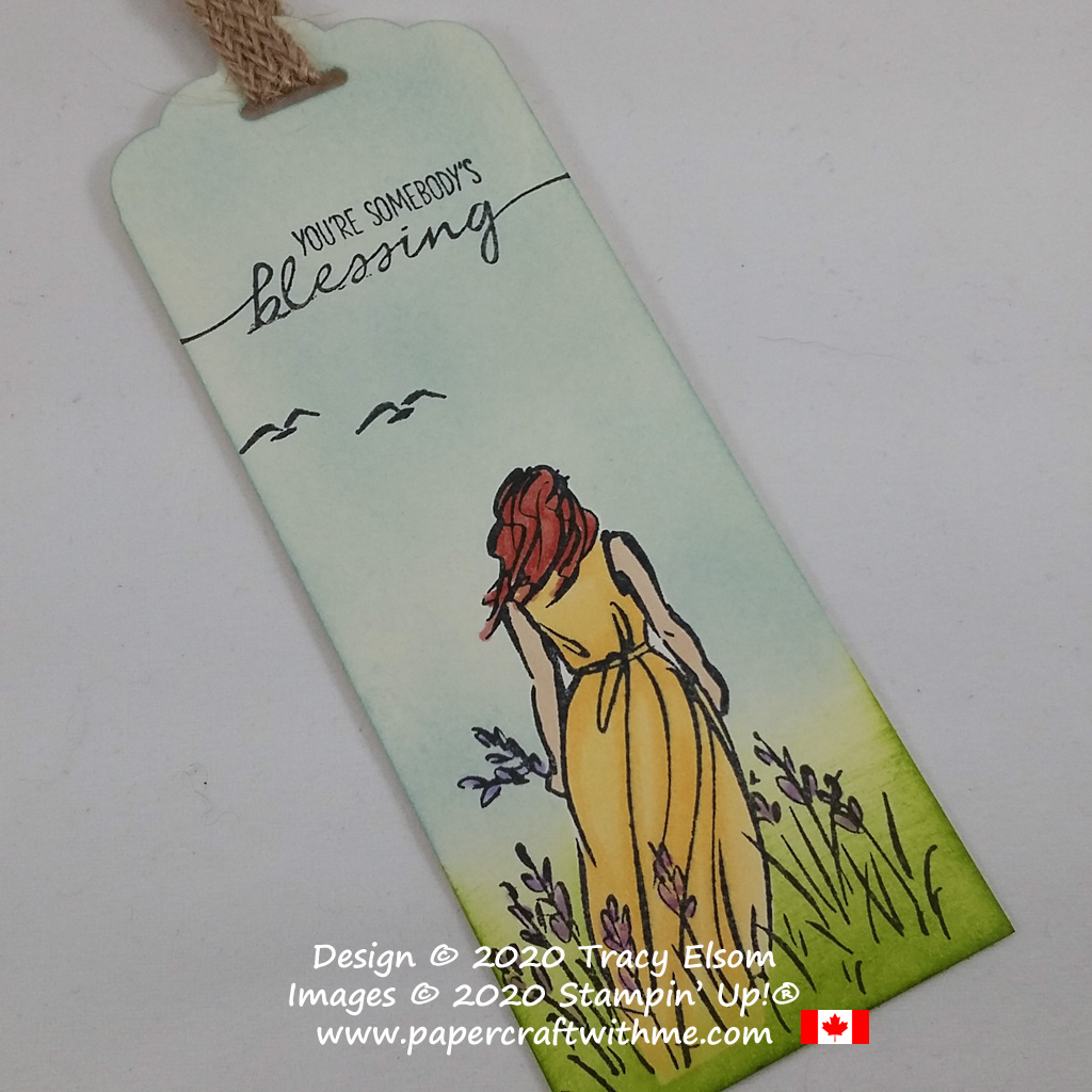 """Summer scene bookmark with """"You're somebody's blessing"""" sentiment created using the Beautiful Moments Stamp Set and Stampin' Blends markers from Stampin' Up! #papercraftwithme"""