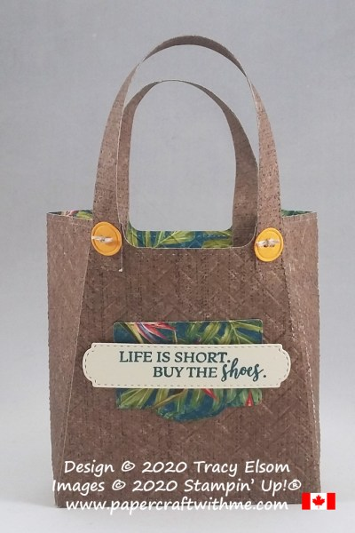 "Tote style gift card holder with ""Life is short, buy the shoes"" sentiment created using the Dressed To Impress Stamp Set and coordinating All Dressed Up Dies from Stampin' Up! #papercraftwithme"