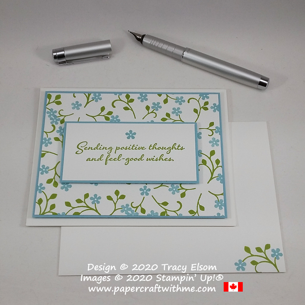 """Forget-me-not card with """"Sending positive thoughts and feel-good wishes"""" sentiment created using the Thoughtful Blooms and Positive Thoughts Stamp Sets from Stampin' Up! #papercraftwithme"""