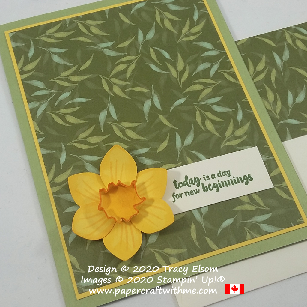 "With a pretty 3D daffodil created using Stampin' up! punches this ""new beginnings"" card is perfect for St David's Day. #papercraftwithme"