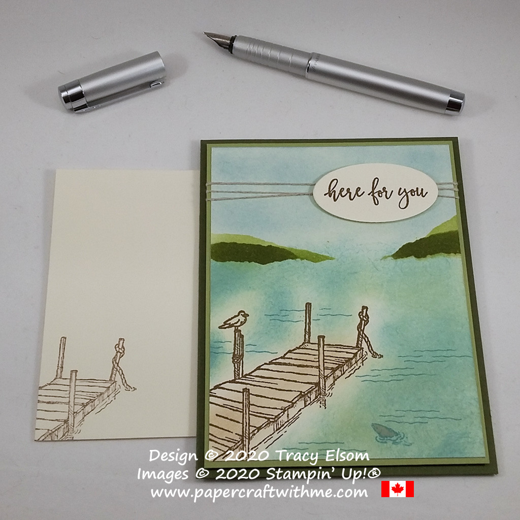 "Simple sponged water scene with ""Here For You"" sentiment created using the By The Dock Stamp Set from Stampin' Up! #papercraftwithme"