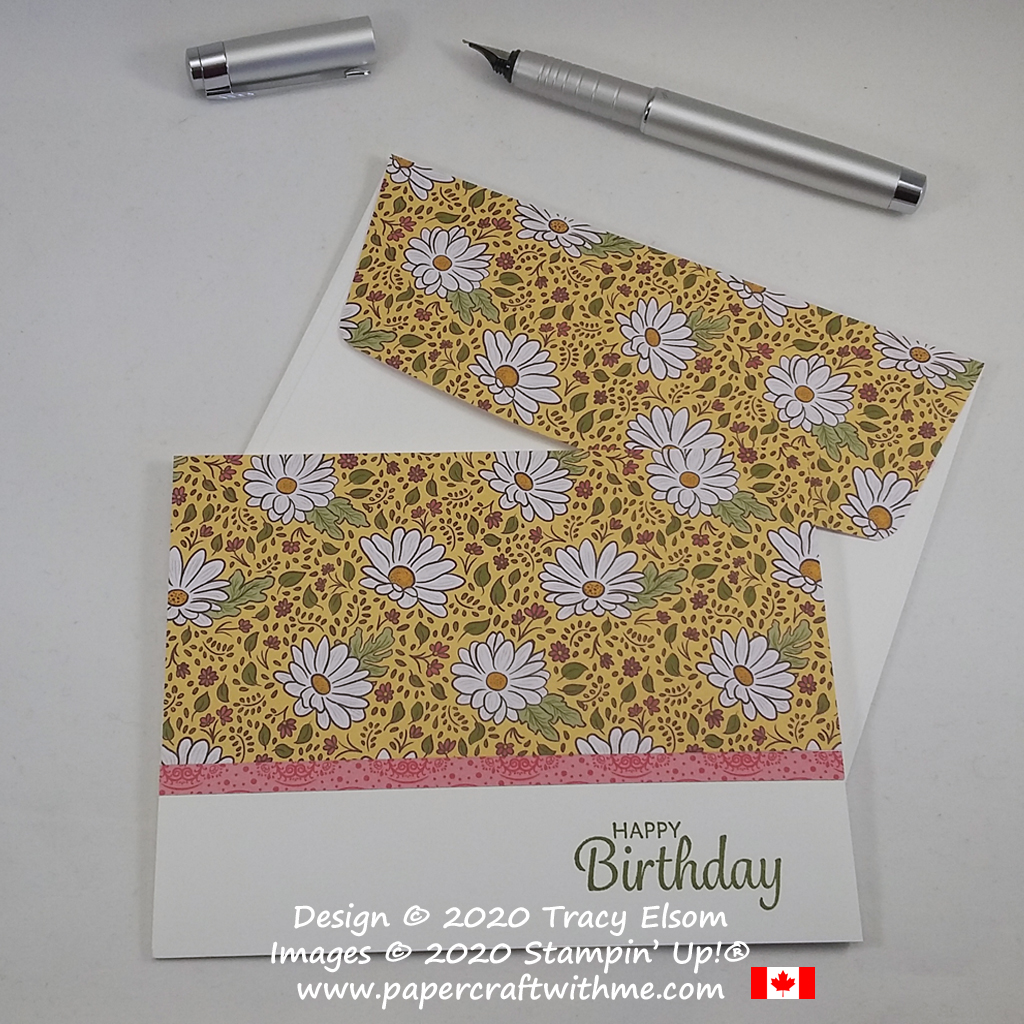 Brighten someone's day with this summer daisy birthday card created using the Ornate Garden Specialty Paper from Stampin' Up! #simplestamping #papercraftwithme