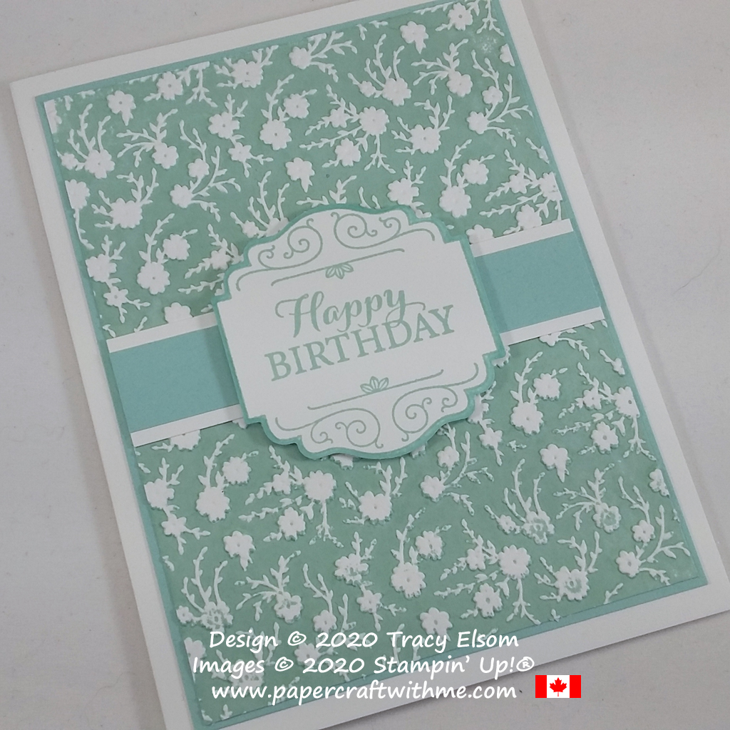 Birthday card with ink embossed background created using the Layered With Kindness Stamp Set and Ornate Floral 3D Embossing Folder from Stampin' Up! #papercraftwithme