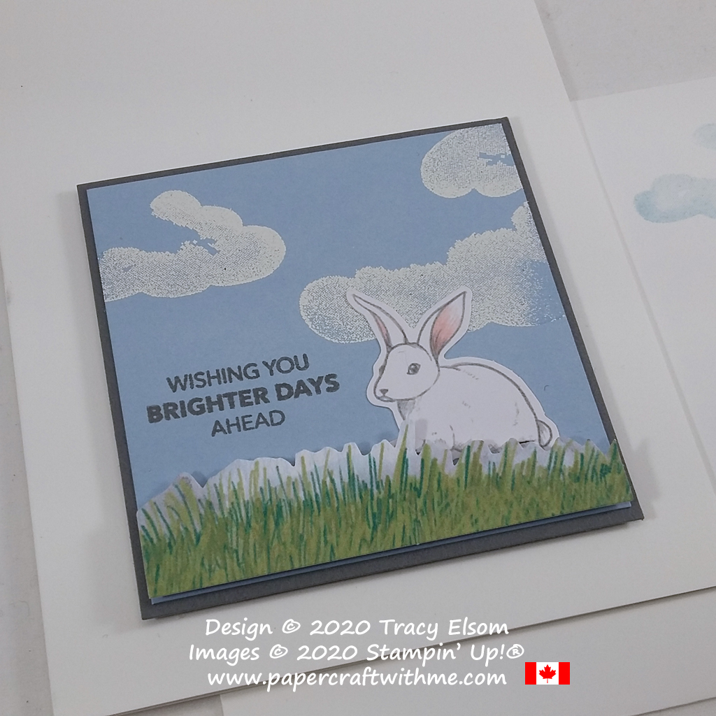 """""""Wishing you brighter days ahead"""" with this cute bunny card featuring images and a sentiment from the March 2020 Paper Pumpkin Kit """"No Matter The Weather"""". #papercraftwithme"""