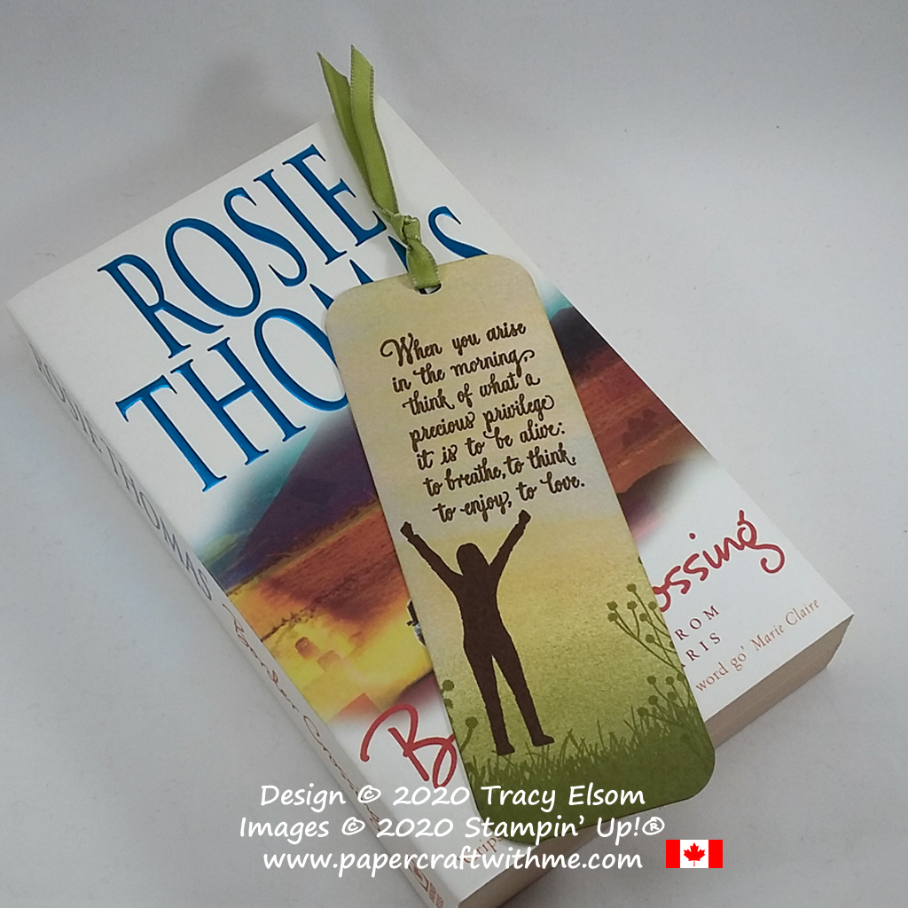 """""""When you arise in the morning, think of what a precious privilege it is to be alive: to breathe, to think, to enjoy, to love."""" Simple bookmark created using the Enjoy Life Stamp Set from Stampin' Up! #papercraftwithme"""