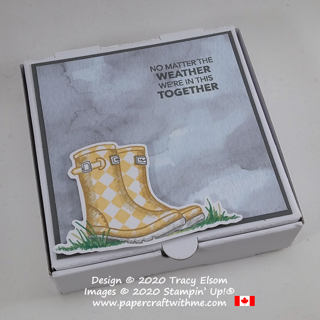 """No matter the weather we're in this together"" mini pizza box decoration featuring images and a sentiment from the March 2020 Paper Pumpkin Kit ""No Matter The Weather"". #papercraftwithme"