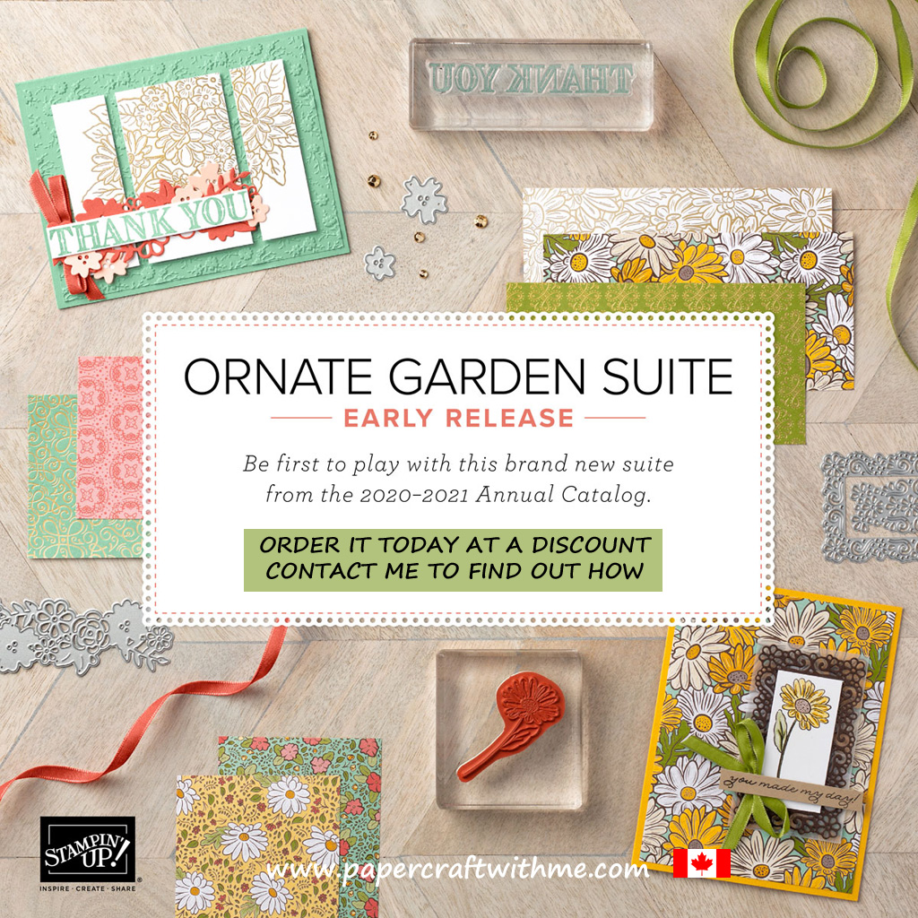 Can't wait for the Stampin' Up! 2020-2021 Annual Catalogue? Check out the early release of the new Ornate Garden Suite, available to customers starting April 1st. #papercraftwithme