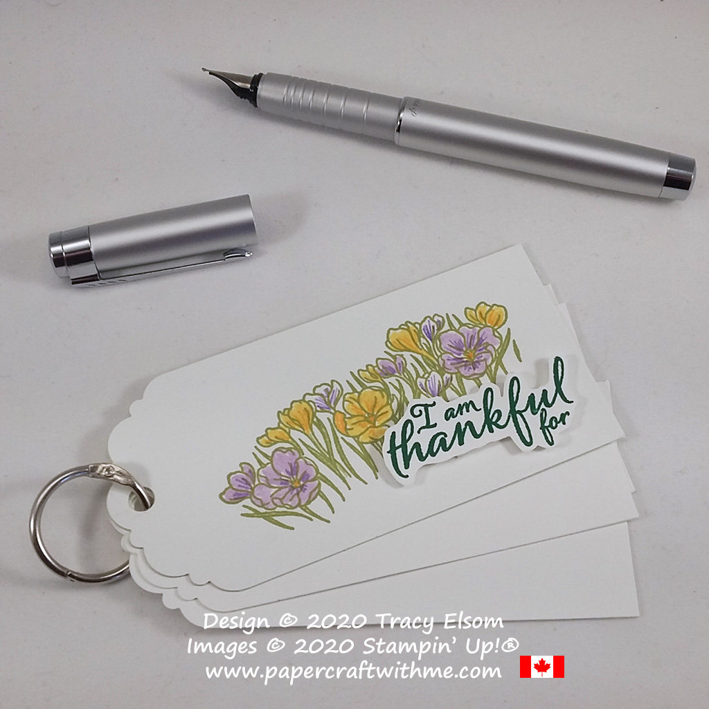 Simple ring of tags idea for keeping track of what you are thankful for. Created using the Painted Harvest and Easter Blessings Stamp Sets from Stampin' Up! #papercraftwithme