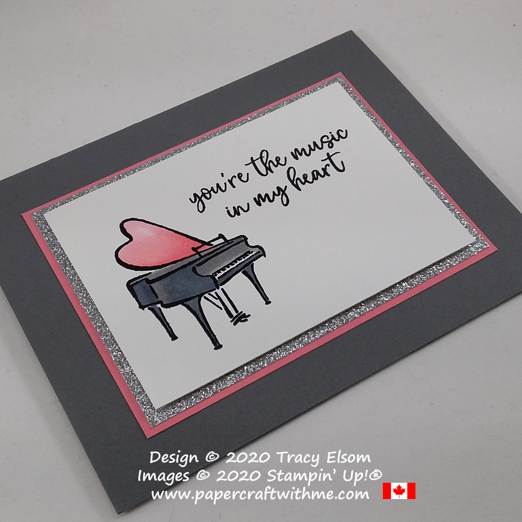 Card with grand piano image created using Stampin' Blends and the Music From My Heart Stamp Set from Stampin' Up! #papercraftwithme
