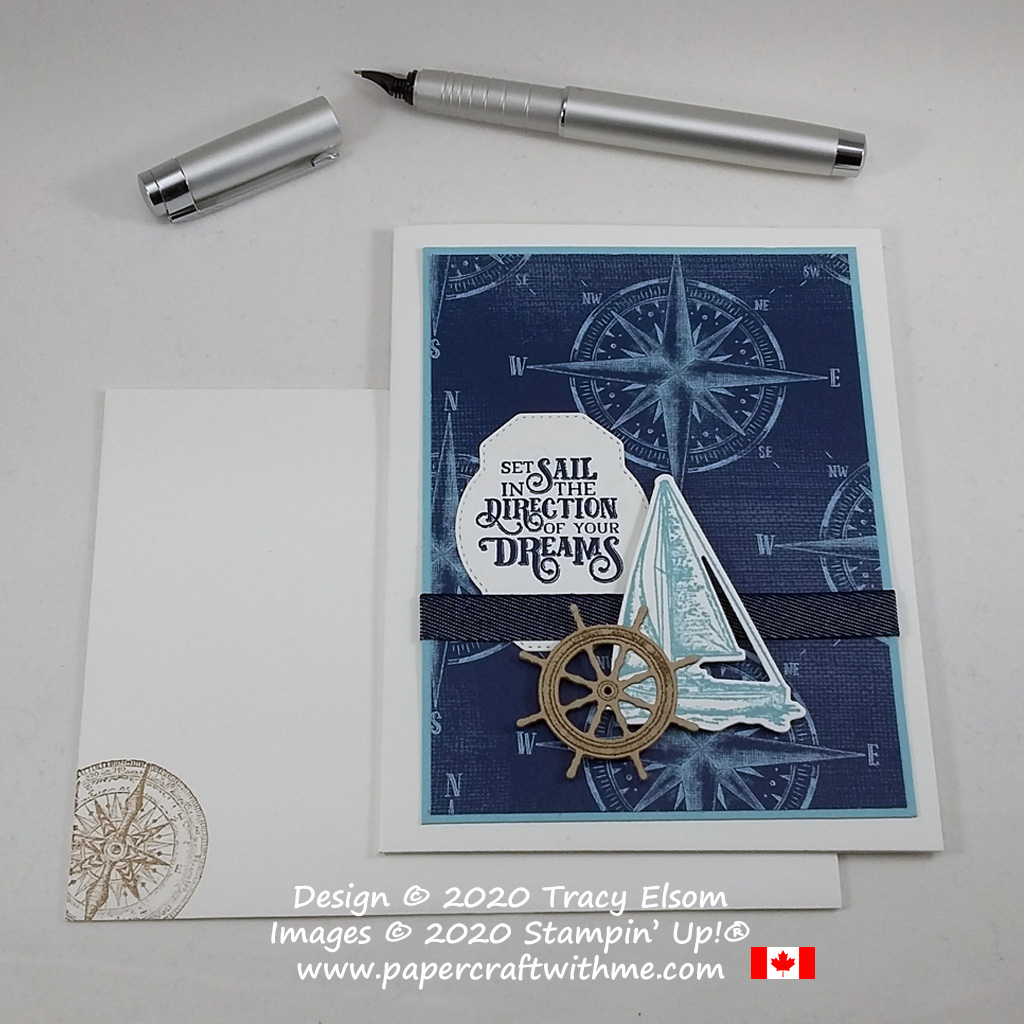 """Set sail in the direction of your dreams"" - masculine / gender neutral card created using the Sailing Home Stamp Set and coordinating Smooth Sailing Dies from Stampin' Up! #papercraftwithme"
