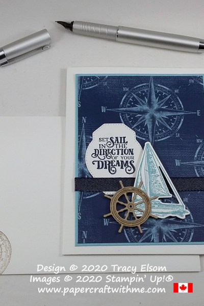 """""""Set sail in the direction of your dreams"""" - masculine / gender neutral card created using the Sailing Home Stamp Set and coordinating Smooth Sailing Dies from Stampin' Up! #papercraftwithme"""