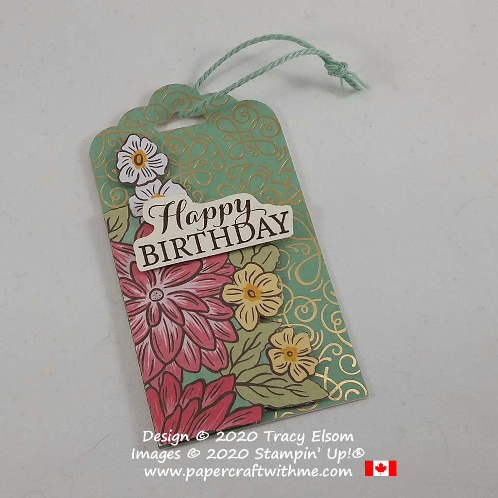 Birthday gift tag with fussy cut flowers created using the Ornate Garden Specialty Paper and Layered With Kindness Stamp Set from Stampin' Up! #papercraftwithme