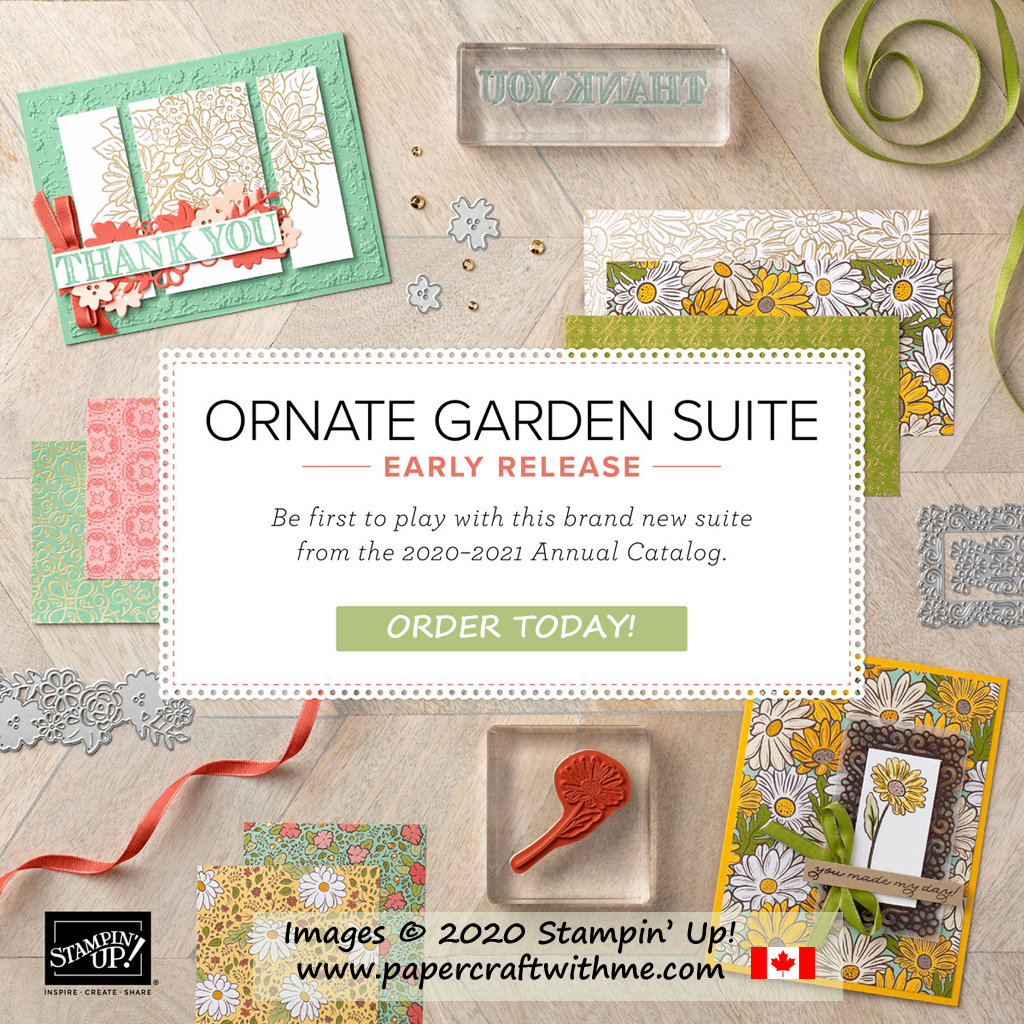 The Ornate Garden Suite from Stampin' Up! consists of two stamp sets, two die sets for layers and borders, patterned paper and embellishments.  Buy it all or just selected products. #papercraftwithme