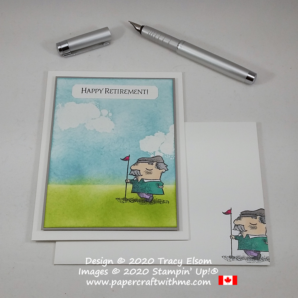 Happy retirement card for the keen golfer created using the On To Adventure and Geared Up Garage Stamp Sets from Stampin' Up! #papercraftwithme