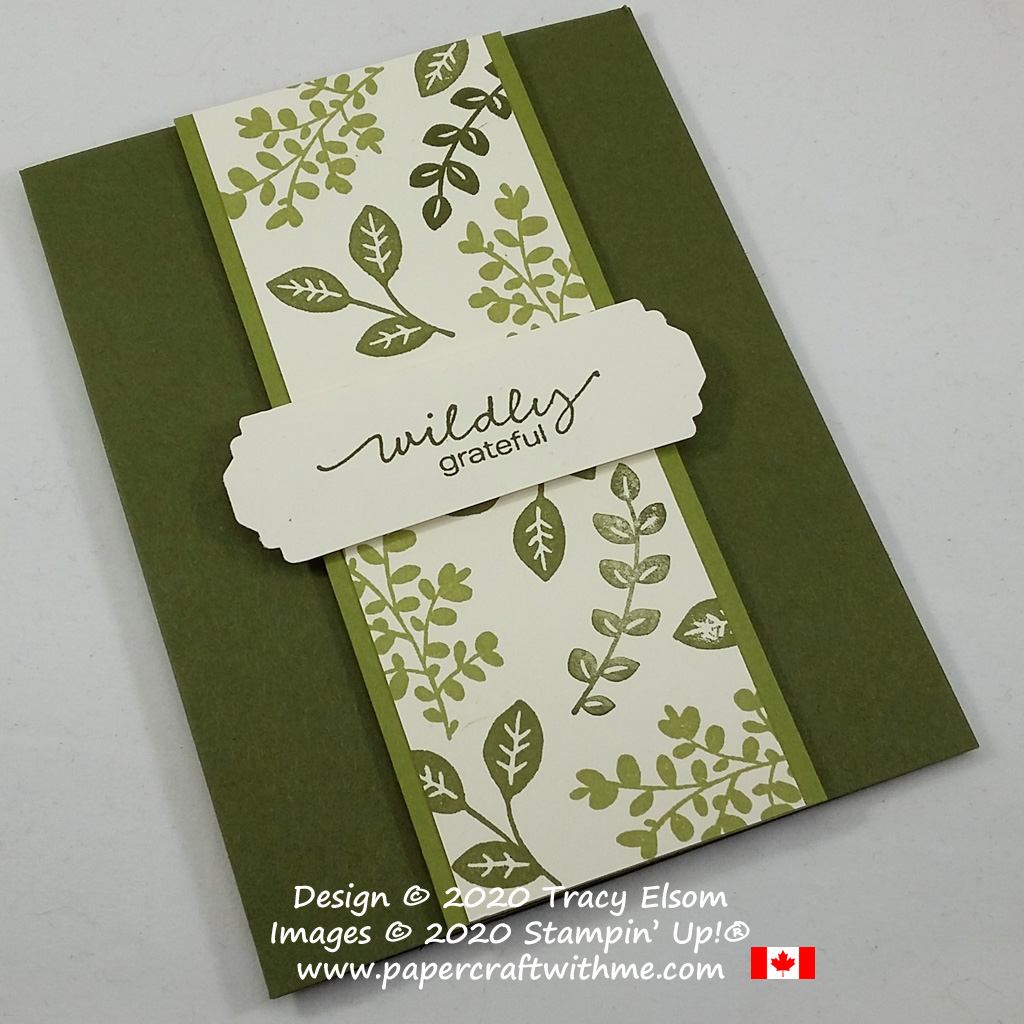 """Masculine / gender neutral card with """"wildly grateful"""" sentiment and stamped leaf design created using the Lovely You Stamp Set and Lovely Label Pick A Punch from Stampin' Up! #papercraftwithme"""