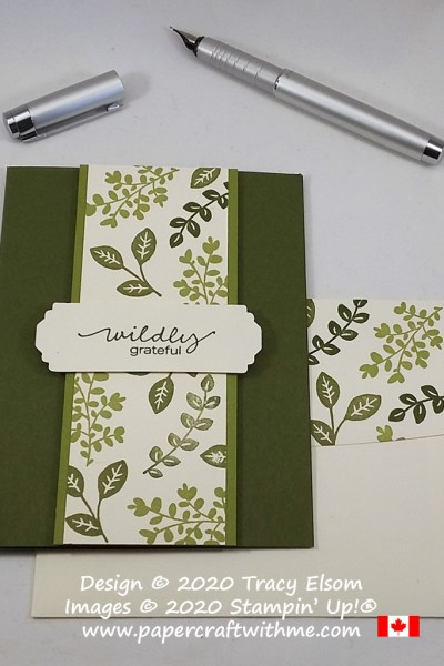 "Masculine / gender neutral card with ""wildly grateful"" sentiment and stamped leaf design created using the Lovely You Stamp Set and Lovely Label Pick A Punch from Stampin' Up! #papercraftwithme"