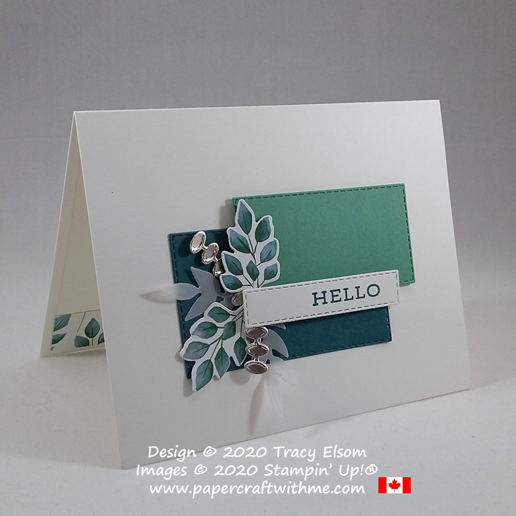 """Card with """"hello"""" sentiment from the Forever Fern Stamp Set with leafy embellishments created using the Forever Greenery DSP and Forever Flourishing Dies from Stampin' Up! #papercraftwithme"""