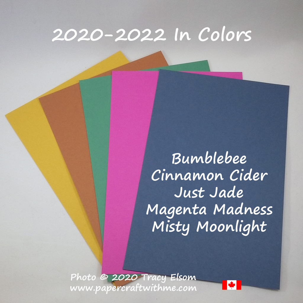 2020-2022 In Colors from Stampin' Up! - Bumblebee, Cinnamon Cider, Just Jade, Magenta Madness and Misty Moonlight. #papercraftwithme