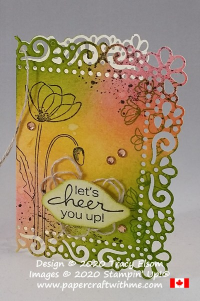 "Collage style gift tag with ""let's cheer you up"" sentiment, created using the Painted Poppies and Lovely You Stamp Sets and Ornate Layers Dies from Stampin' Up! #papercraftwithme"