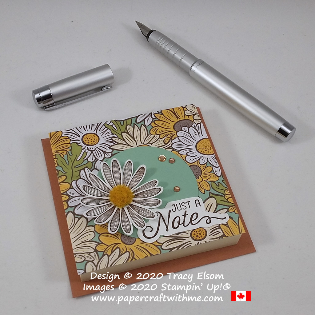 Daisy Post-It Note holder created with Cinnamon Cider Card base. All products available from Stampin' Up! #papercraftwithme