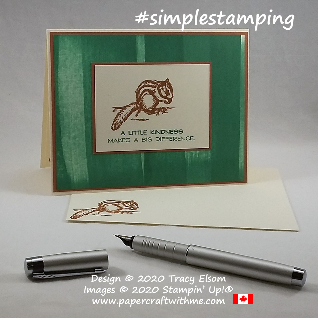 "#simplestamping card with chipmunk image and ""a little kindness makes a big difference"" sentiment from the Field Journal Stamp Set from Stampin' Up! #papercraftwithme"
