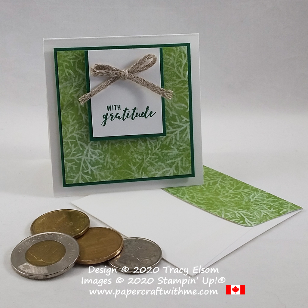 """""""With gratitude"""" 3"""" x 3"""" card created using the Itty Bitty Greetings Stamp Set from Stampin' Up! #papercraftwithme"""