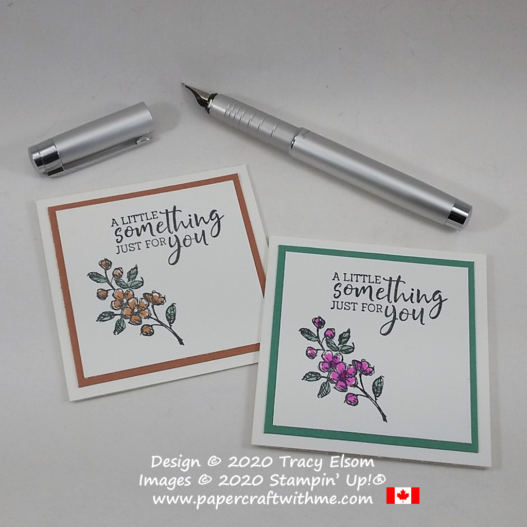 """Simple 3x3 folded gift tag with floral image and """"A little something just for you"""" sentiment created using the Fancy Phrases Stamp Set from Stampin' Up! #papercraftwithme #simplestamping"""
