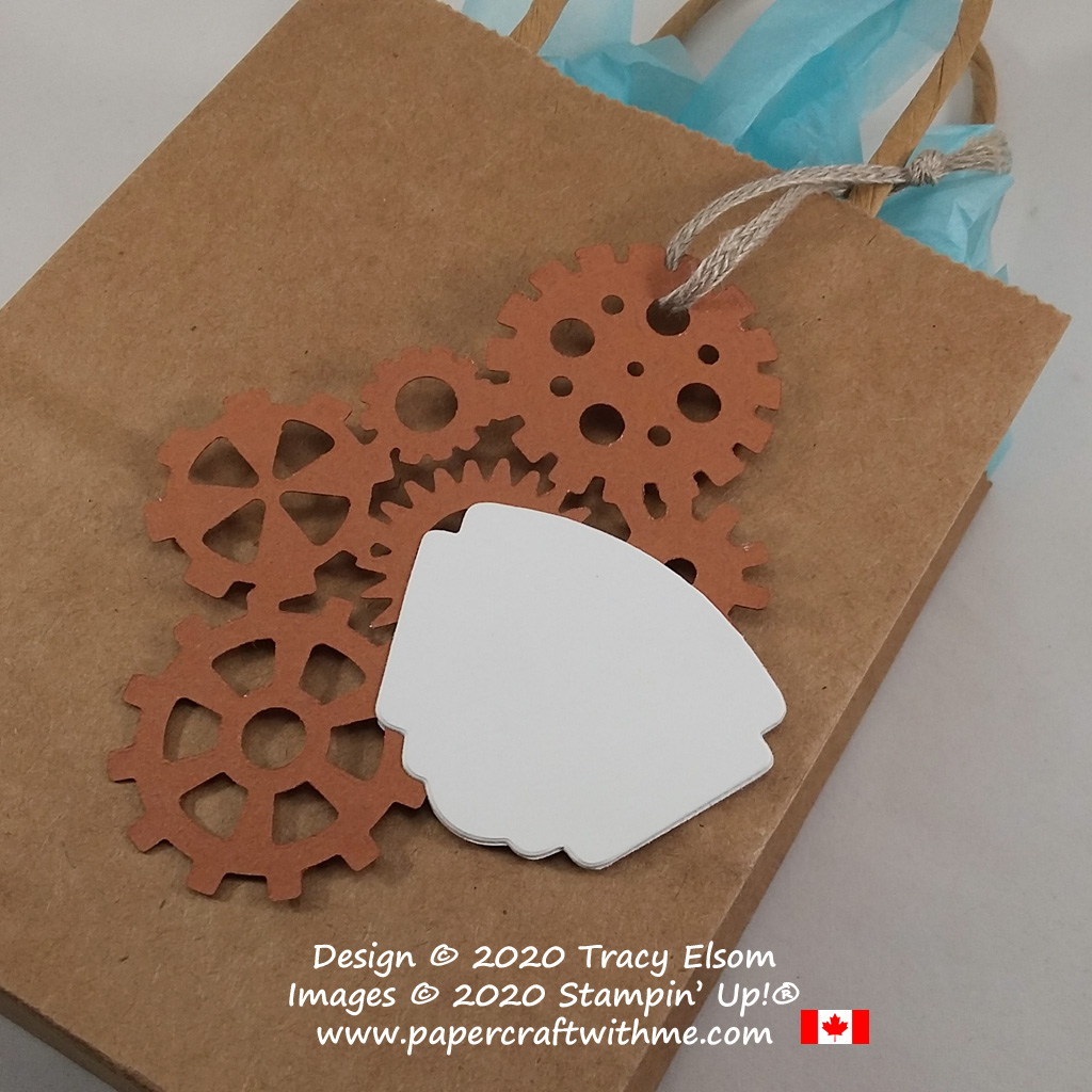 Back of large gift tag created using the Garage Gears Dies from Stampin' Up! #papercraftwithme