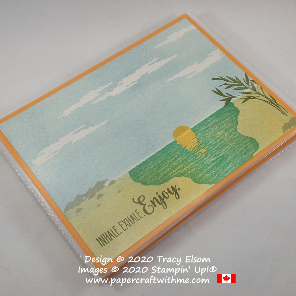 """Inhale. Exhale. Enjoy"" 4"" x 6"" pocket photo album with cover created using the Sending Sunshine Stamp Set from Stampin' Up! #papercraftwithme"