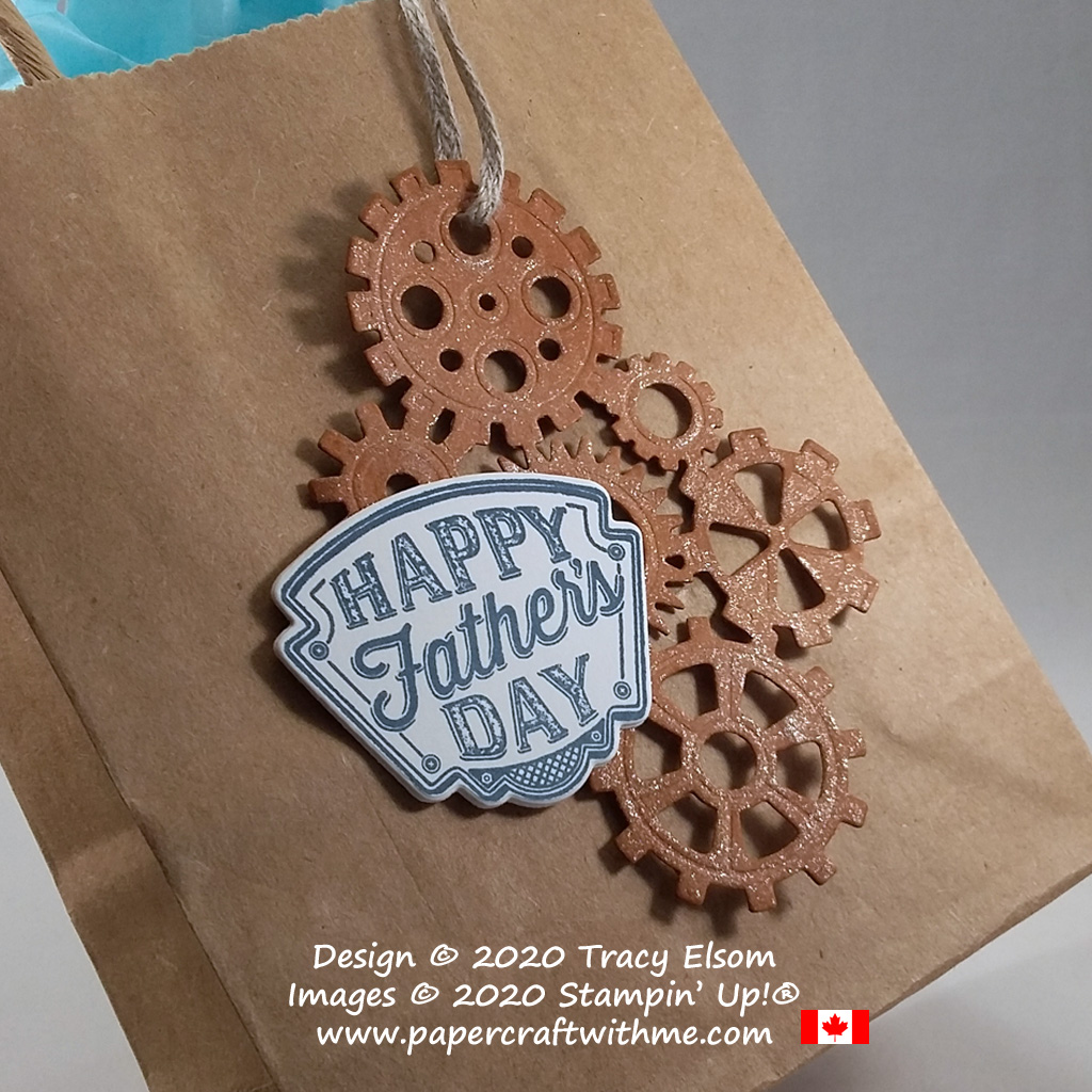 Large Father's Day gift tag created using the Geared Up Garage Stamp Set and coordinating Garage Gears Dies from Stampin' Up! #papercraftwithme