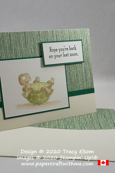 Get well card with tortoise image and sentiment from the Back On Your Feet Stamp Set from Stampin' Up! #papercraftwithme