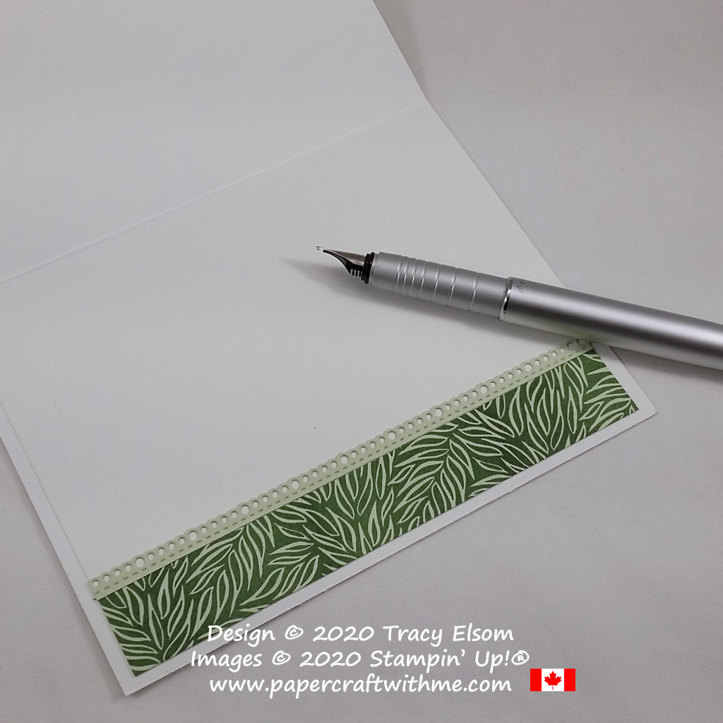 Inside of masculine card decorated with leaf print Forever Greenery paper and die cut edge using the Ornate Borders Dies from Stampin' Up! #papercraftwithme