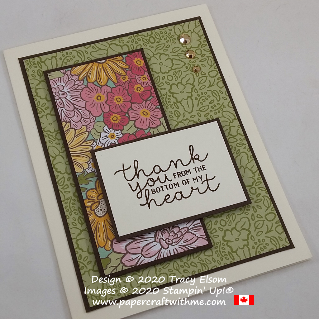 Floral thank you card created using the Bloom & Grow Stamp Set from Stampin' Up! #papercraftwithme