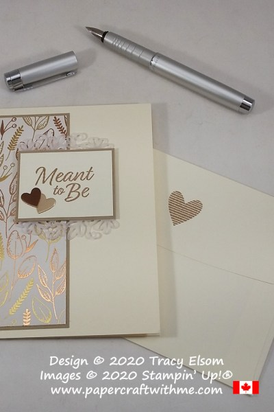 Gender neutral card for a wedding, engagement or Valentine's Day. Created using the Meant to Be Stamp Set and Gilded Autumn Specialty paper from Stampin' Up! #papercraftwithme