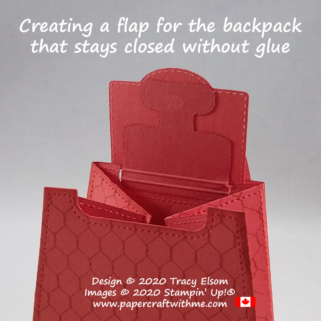 How to add a flap to the backpack gift / treat pouch that stays closed without glue, created using the All Dressed Up Dies from Stampin' Up! #papercraftwithme