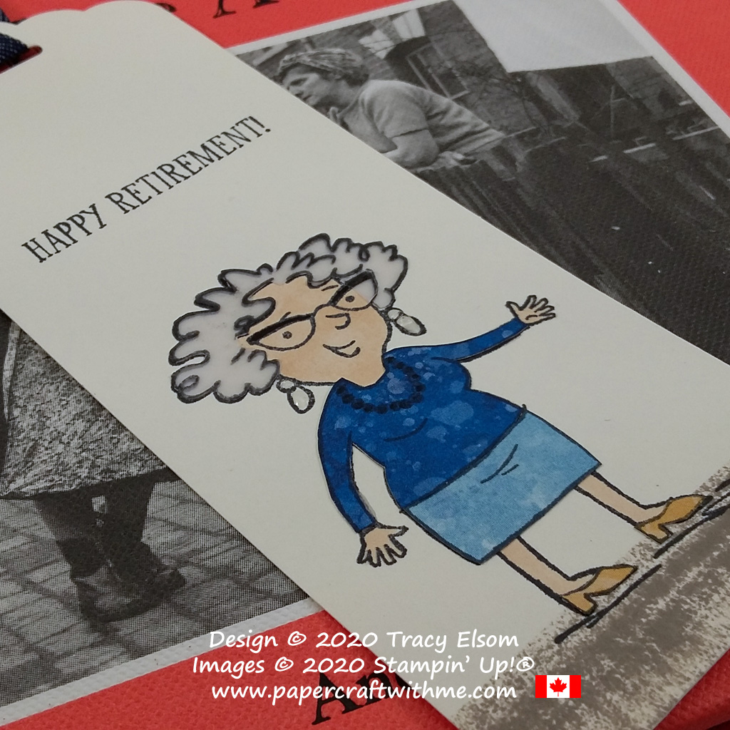 """""""Happy retirement"""" bookmark created using a paper tole technique and the Senior Years Stamp Set from Stampin' Up! #papercraftwithme"""