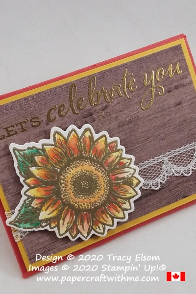 """Let's celebrate you"" with this gift card holder featuring a gold embossed and painted flower from the Celebrate Sunflowers Stamp Set by Stampin' Up! #papercraftwithme"