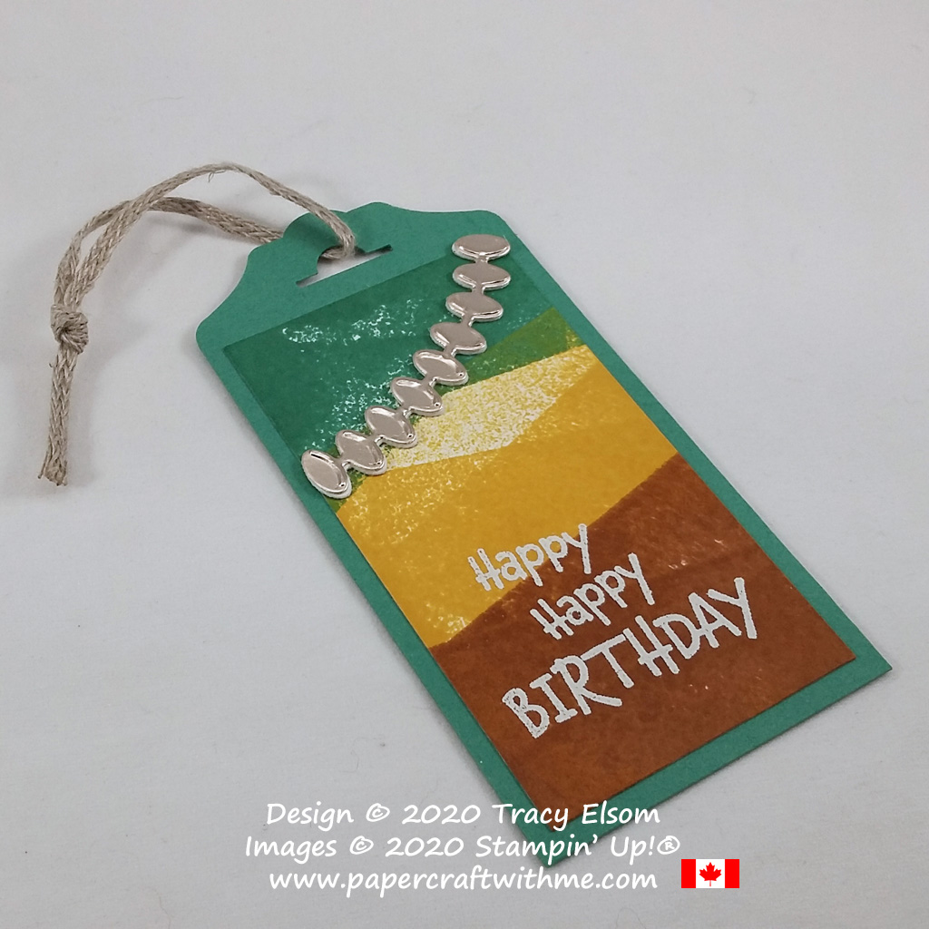 Masculine / gender neutral birthday gift tag created using the From All Of Us Stamp Set and Forever Flourishing Dies from Stampin' Up! #papercraftwithme
