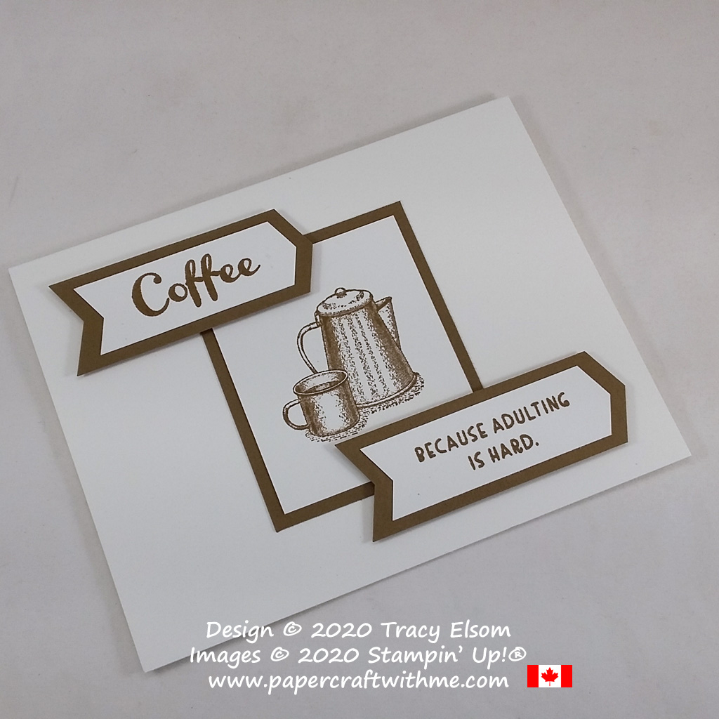 Campfire coffee pot and mug on this card created using the Campology and Nothing's Better Than Stamp Sets, with the Banners Pick-A-Punch all from Stampin' Up! #papercraftwithme