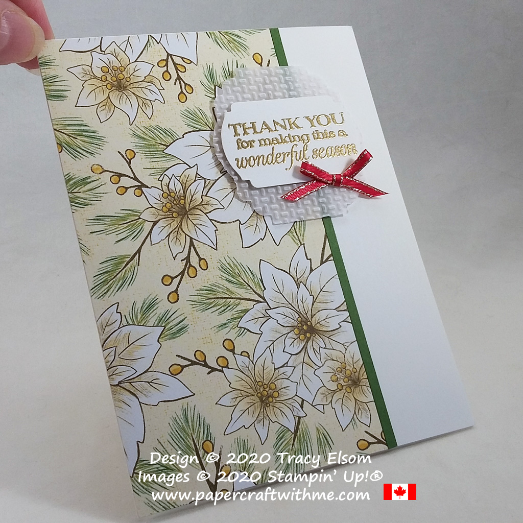 """""""Thank you for making this a wonderful season"""" card created using the Poinsettia Petals Stamp Set and Poinsettia Place paper from Stampin' Up! #papercraftwithme"""