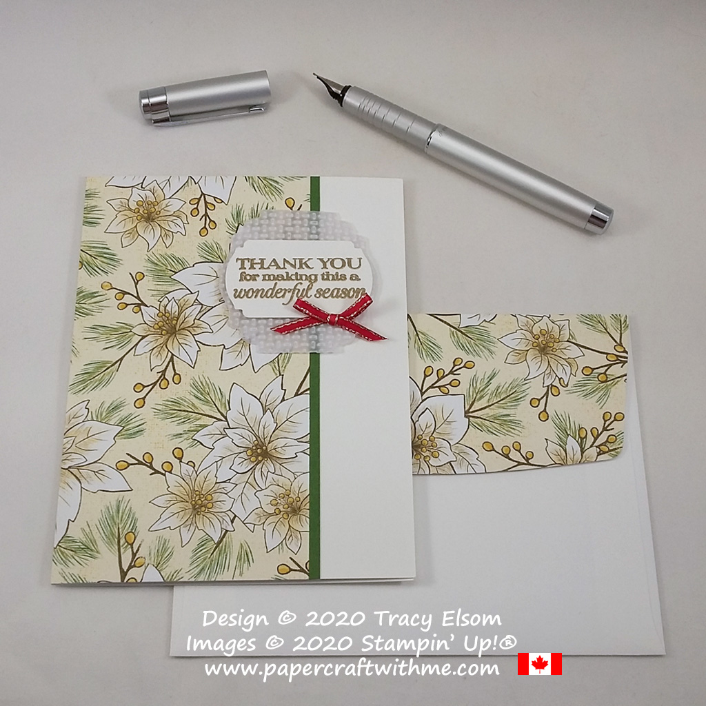 """Thank you for making this a wonderful season"" card created using the Poinsettia Petals Stamp Set and Poinsettia Place paper from Stampin' Up! #papercraftwithme"