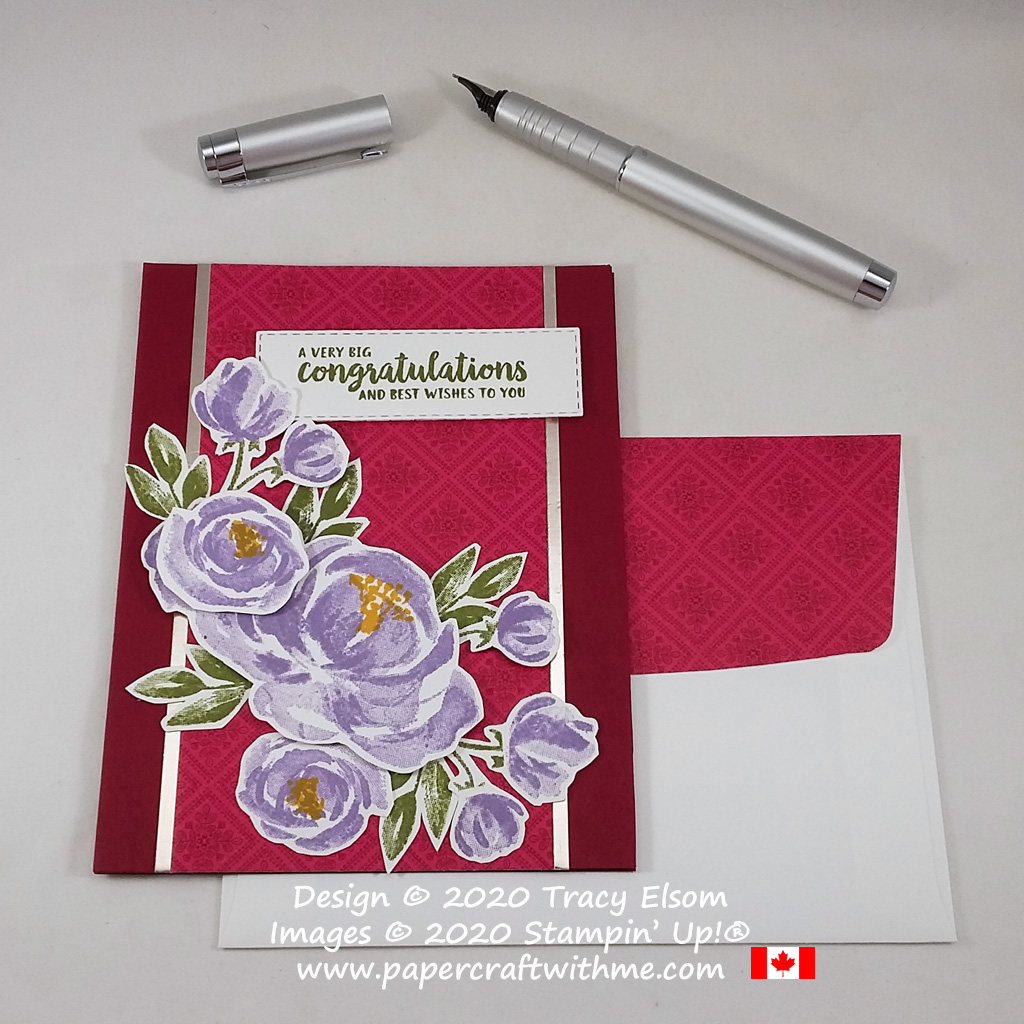 """Layered card with """"Big congratulations"""" sentiment and floral images from the Beautiful Friendship Stamp Set, and background from the 'Tis The Season DSP from Stampin' Up! #papercraftwithme"""