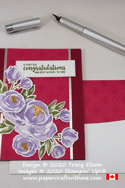 "Layered card with ""Big congratulations"" sentiment and floral images from the Beautiful Friendship Stamp Set, and background from the 'Tis The Season DSP from Stampin' Up! #papercraftwithme"
