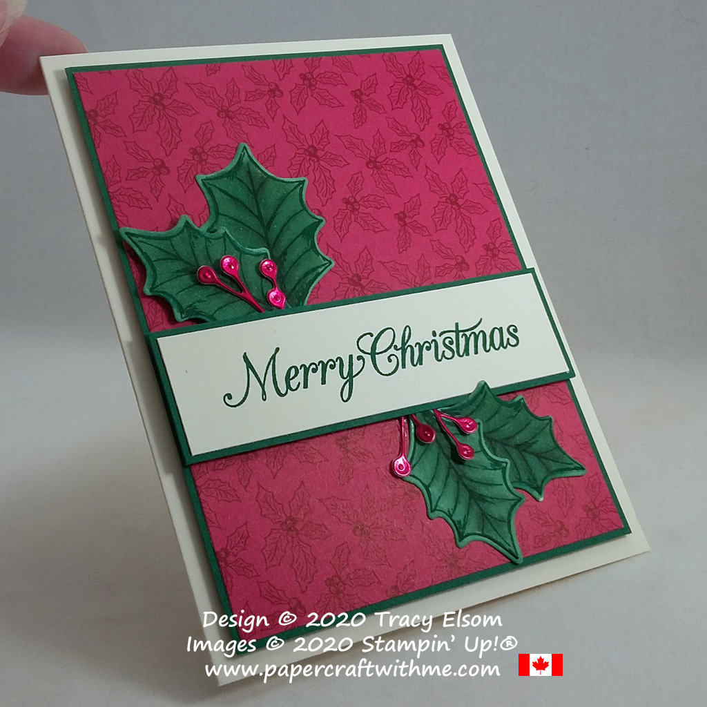 Christmas card with holly leaves and red foil berries created using the Poinsettia Petals Stamp Set and coordinating Poinsettia Dies from Stampin' Up! #papercraftwithme