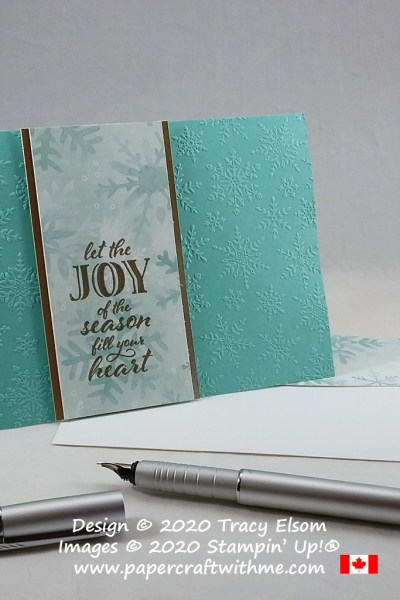 """Joy of the season"" card created using the Wrapped in Christmas Stamp Set and Winter Snow Embossing Folder from Stampin' Up! #papercraftwithme"