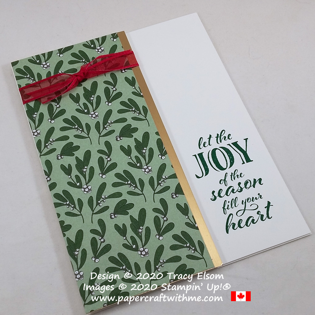 """""""Let the joy of the season fill your heart"""" card created using the Wrapped In Christmas Stamp Set from Stampin' Up! #papercraftwithme"""