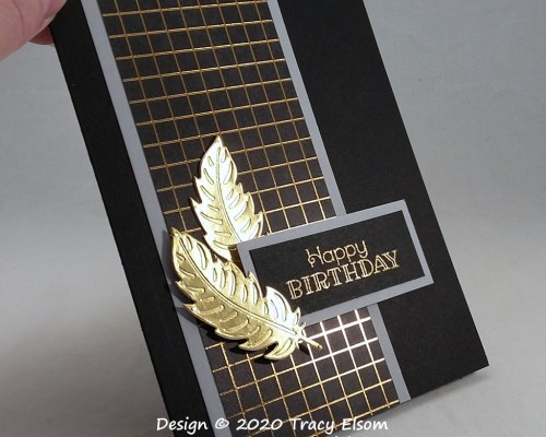 2042 Gold Feather Birthday Card